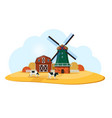 rural landscape with dutch windmill and farm vector image vector image