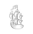 sailboat black ink sketch vector image