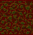 seamless floral dark red damask pattern background vector image