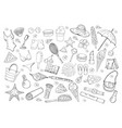 set different summer doodle elemnts isolated vector image vector image