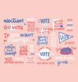 set hand drawn badges vote 2020 textured vector image
