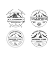 Set of monochrome outdoor camping adventure and vector image