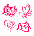 set of red calligraphy word love and hearts vector image vector image
