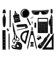 Set of stationery tools Black vector image vector image