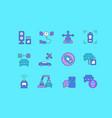set simple line icons autonomous car vector image