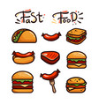 set with various fast food vector image vector image