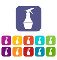 spray bottle for flower icons set vector image vector image