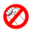 Stop violence Ban fight Forbidden fist Red label vector image vector image