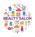 thin line beauty salon with assortment vector image vector image