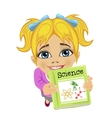 Top view of cute little girl offering science book
