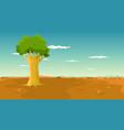 tree inside wide plain landscape vector image vector image