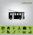 trolleybus sign black icon at gray vector image vector image