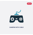 two color gamepad with cable icon from technology vector image vector image