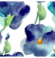 watercolor violet flowers seamless pattern vector image vector image
