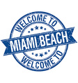 welcome to Miami Beach blue round ribbon stamp vector image vector image