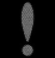 white pixelated exclamation sign icon vector image vector image