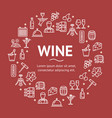 wine drink signs round design template line icon vector image vector image