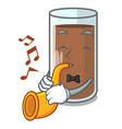 with trumpet fresh chocolate splash on pouring vector image vector image