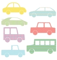 Collection of car silhouettes with simple patterns vector image