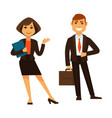 businesswoman with folder and businessman with vector image