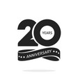 20 years anniversary logo template isolated black vector image vector image