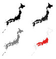 a set detailed accurate maps japan vector image vector image