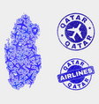 aeroplane composition qatar map and grunge vector image vector image