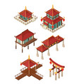 asian architecture isometric traditional chinese vector image