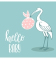 Baby arrival card with stork vector image vector image