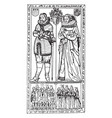 brass monument is sir edward filmer and a lady vector image vector image