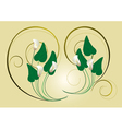 Calla flowers with the decor of spirals on a light vector image vector image
