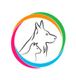 cat and dog together logo icon vector image