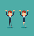 cheerful businesswoman woman with arms up vector image