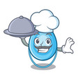 chef with food oxygen mask mascot cartoon vector image