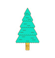 christmas tree contour style fir line style vector image