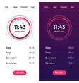 clock app time countdown ui for day and night vector image