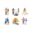 collection different travelling people vector image