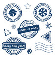 collection of christmas postage stamps vector image vector image