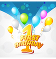 colorful background of first birthday vector image vector image