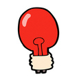 comic cartoon red light bulb vector image vector image