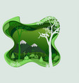 Countryside silhouette in green color landscape vector image