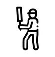 cricket player batsman icon outline vector image vector image