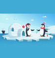 cute penguins in love christmas winter animals vector image vector image