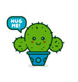 cute smiling happy cactus say hug me vector image