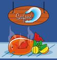 delicious fish sea food with lemon vector image vector image