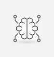 digital brain outline icon in thin line vector image