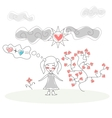 Doodle Girl Flies on Ball in the Rain of Hearts vector image vector image