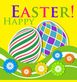 easter colored greeting card - eggs with flowers vector image