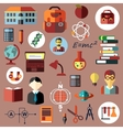 Education school and science flat icons vector image