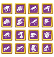 electric tools icons set purple square vector image vector image